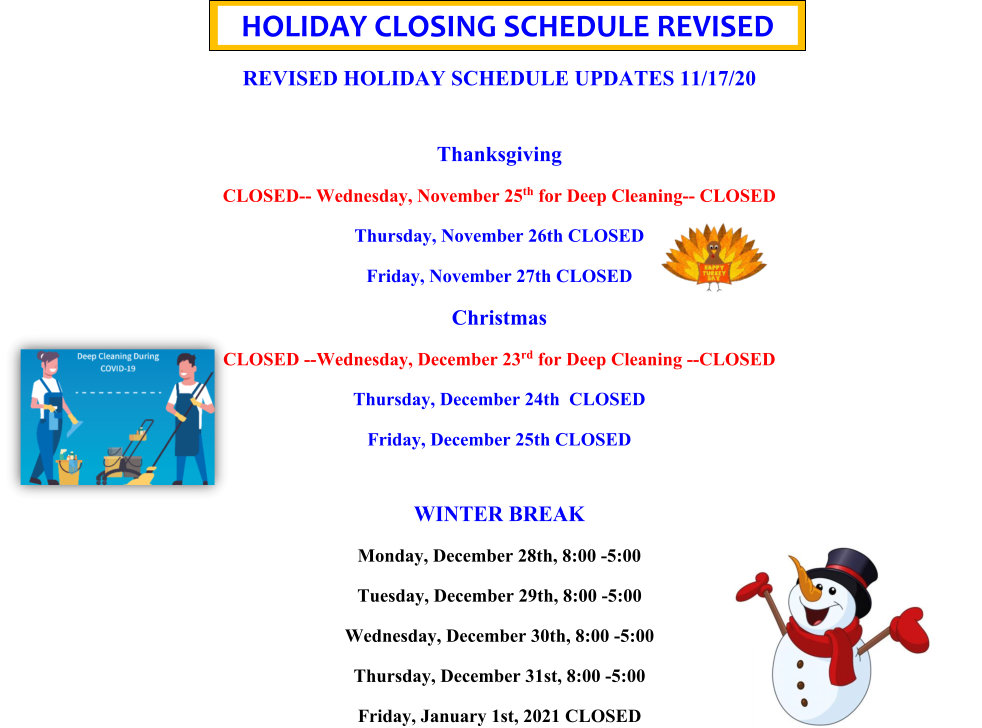 list of holiday schedule